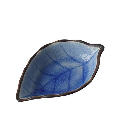 LIZANAN Cocina Plato de cerámica pequeña vajilla de Cocina Multifuncional Vinagre Plato del condimento del Plato de cerámica Creativa del Plato Snack-Placa de 4 Hojas 11X7X3Cm Azul vajilla