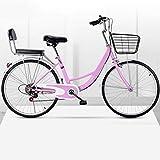MC.PIG Lady Classic Bike con cesta – Bicicleta de paseo para mujer de velocidad variable, bicicleta para adultos 22/24/26 pulgadas para estudiantes macho y hembra (color: rosa, tamaño: 22 pulgadas)