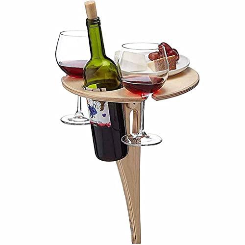Tavolo da vino da esterno con tavolo rotondo pieghevole, tavolo da picnic da spiaggia portatile con portabottiglie, mini tavolo da picnic in legno per campeggio da viaggio in giardino