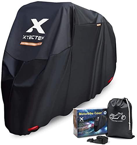 XYZCTEM Motorradabdeckung, Wasserdicht Extra Strapazierfähig Dicke 210D Oxford, All Season Outdoor Schutz für Motorräder mit Einer maximalen Länge von 245cm