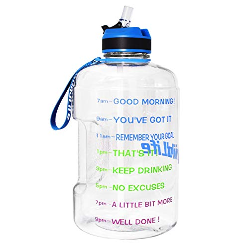 BuildLife Gallon Motivational Water Bottle with Time Marked to Drink More Daily,BPA Free Reusable Gym Sports Outdoor Large(128OZ) Capacity (Clear/Blue, 1 Gallon)