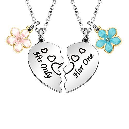 Collar para ella y él, para parejas, regalos para 2 collares con colgante de corazón dividido para novio y novia, regalo de San Valentín
