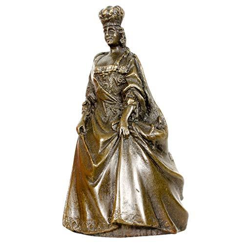 Scultura Tavolo Campana Regina in Bronzo Anticato Figura Statua 9cm