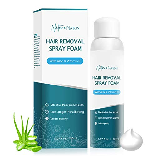 Hair Removal Spray Foam- Nature Nation Hair Removal Cream - Newest Formula with Aloe Vera & Vitamin E - Effective & Painless Depilatory Cream for Women & Men