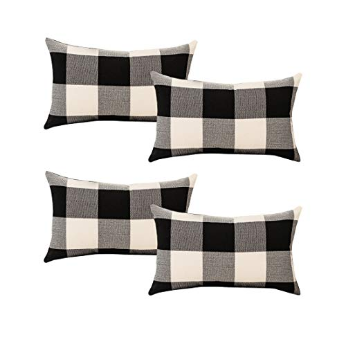 Set of 4 Buffalo Check Throw Pillow Covers 20x12 Inches, Black White Check Pillowcases Christmas Cushion Cover Cases for Sofa Couch Chair Bed Car Farmhouse Home Décor