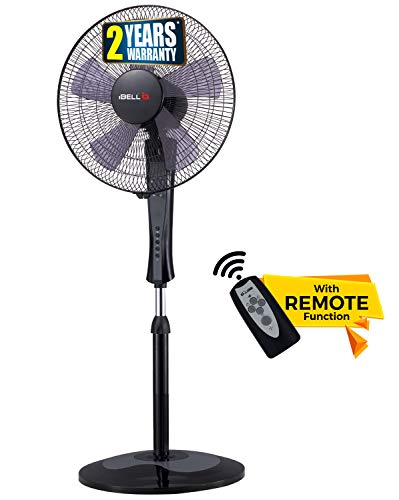 iBELL WINDP10 Pedestal Fan 5 Leaf with Remote and High Air Flow,406mm, 55W, High Speed, 100% Copper & Timer Function, Black