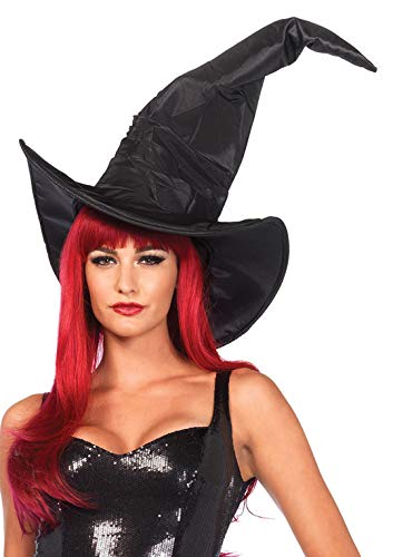 Leg Avenue Women's Large Ruched Witch Hat Adult Sized Costumes, Ruched Black, One Size US