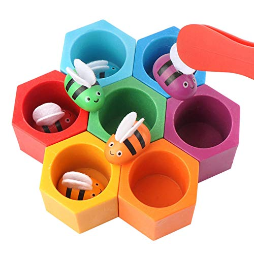 Ganmek Juguete de madera de abeja caja de nido de juguete con clip juguetes educativos de educación temprana bebé niños guardería guardería jugar herramienta de enseñanza modern improved