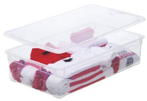 Sundis Clear Box Blanket Aufbewahrungsbox 30 l mit Deckel, Kunststoff (PP), transparent, 30 Liter (70,5 x 40 x 16,5 cm)