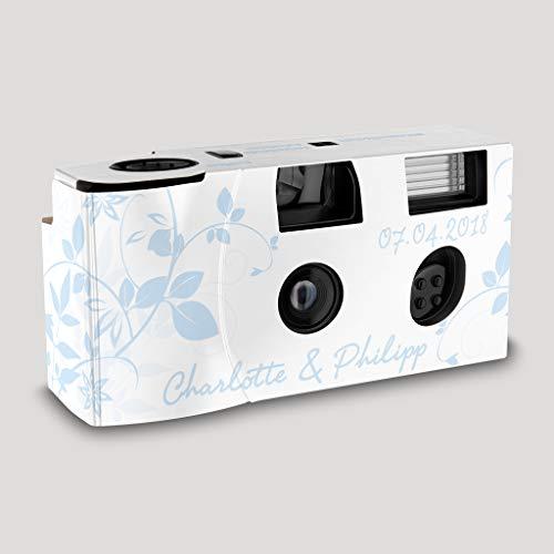 Hochzeitskamera Einwegkamera Flower hellblau mit Personalisierung, ISO 400, 27 Aufnahmen, Blitz