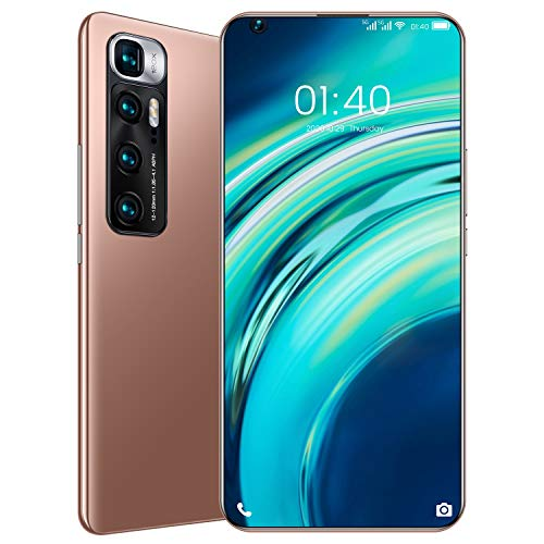 M10 Ultra Smartphone ohne Vertrag Android 10, 7.2 Zoll Bildschirm, 4GB RAM+32GB ROM, 6000mAh Akku, 48MP+24MP Kamera, WLAN, Fingerabdruck, Face ID, Dual SIM Handy,Gold,Standard