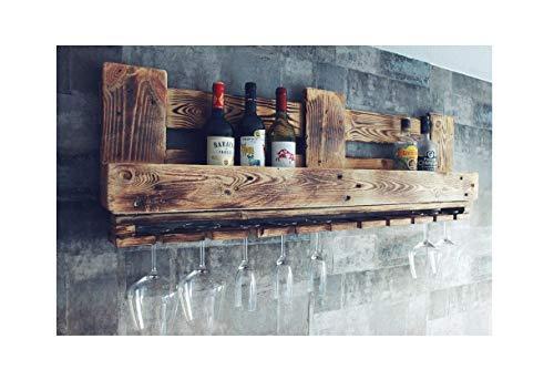 WEINBAR REGAL aus Palettenholz RUSTIKAL mit Weinablage und Aufbewahrung für bis zu 8 Schnaps- und Weinflaschen Flaschen und 9 Weingläser verschiedenster Größen