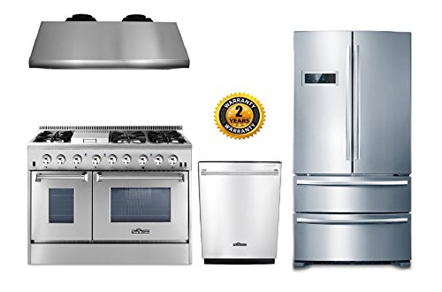 "Thor Kitchen 4-Piece Package with 48"" Dual Fuel Range 6 Burner With Double Oven and Griddle, 48"" Under Cabinet Range Hood, 36"" Cabinet Depth French Door Refrigerator and 24"" Built-In Dishwasher"