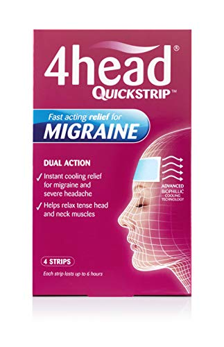 4Head Quickstrip Headache and Migraine Relief Strips - Pack of 4
