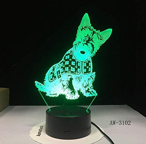3D Lámpara de Ilusión Lovely Spot Dog Night Lights LED USB 7 colores Sensor Lámpara de escritorio Lámpara de mesa Amigos Niños Regalo de cumpleaños Luz
