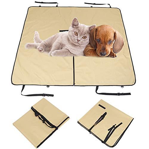 Hffheer Dog Seat Cover Waterdichte Scratch Proof Nonslip Hond Backseat Cover Bescherming tegen Vuil en Huisdier Bont Duurzame Huisdieren Stoelhoezen Universele Grootte (55.9 x 50.4in) met Riem, Beige