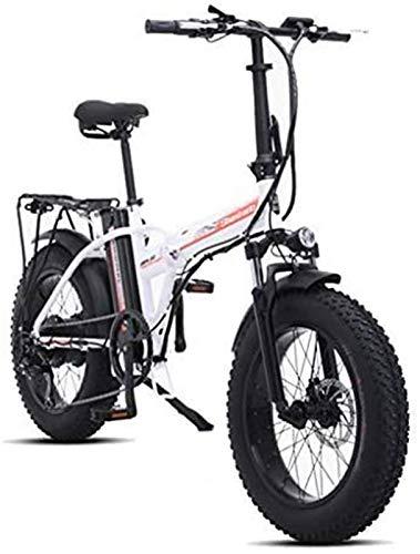 Bici electrica, 500W 4.0 anchos neumáticos neumáticos de bicicletas de montaña eléctricas Beach moto de nieve for adultos, Scooter eléctrico 7 Velocidad Gear EBike Con la batería de litio extraíble 48