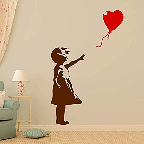 Bak Infantil Wandlampe Mädchen Mit Luftballons Graffiti Urban Vinyl Wandaufkleber Kinderzimmer Kinderzimmer Wohnkultur Wandbilder 77X120Cm
