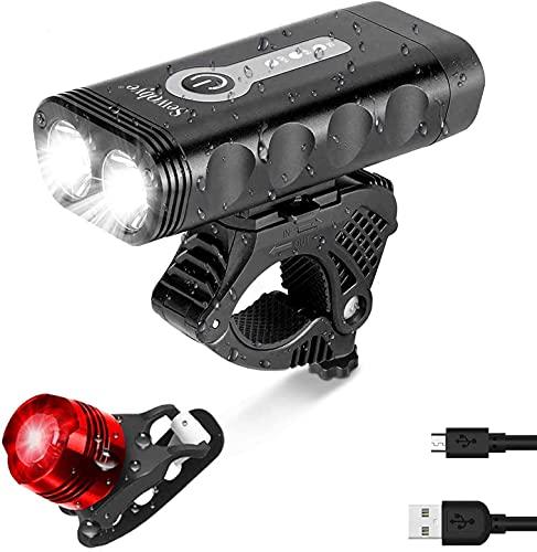 SEWOBYE Fahrradlicht Super Helligkeit Fernstrahl, 4400mAh Wiederaufladbares USB Fahrradbeleuchtung , Aluminium Fahrradlicht USB mit 5 Modi - Fahrradlampe Passt für Mountainbike, Ebike (Black)