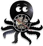 MBKYSZ Pulpo Acuario Animal Reloj de Pared de Vinilo Record Reloj de Cuarzo de 12 Pulgadas Reloj Luminoso LED,Reloj del Dormitorio de la Sala (luz)