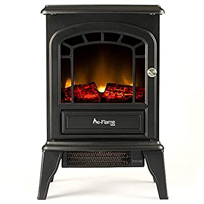 e-Flame USA Aspen Freestanding Electric Fireplace Stove - Infrared 3-D Log and Fire Effect (Black)