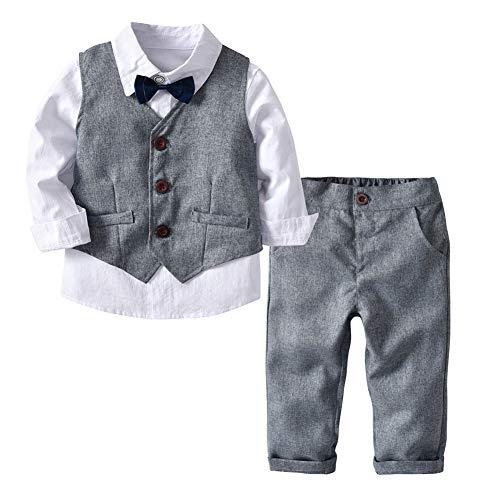 Jungen Gentleman Smoking Anzug Fliege 4tlg Babykleidung Schicker Taufanzug, Grau, Gr. 110