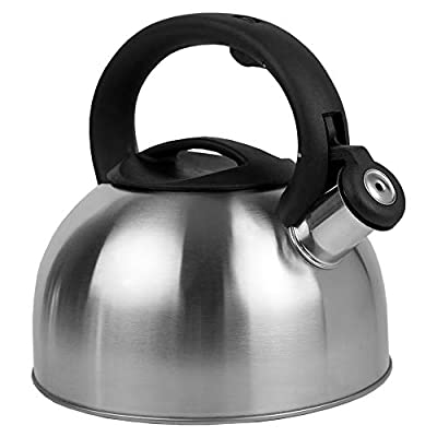 Home Basics TK45726 Stovet 2.5 Liter Brushed Stainless Steel Whistling Kettle Tea Pot for Stovetop with Capsule Base Suitable for All Heat Sources-Non-Slip, St, Silver