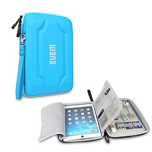 BUBM Electronic Accessories Organizer Case, Travel Gadget Protective Bag with Handle, Perfect for Cables, USB Drives, Charger, Memory Cards-A Sleeve Pouch Fits for iPad, Sky Blue