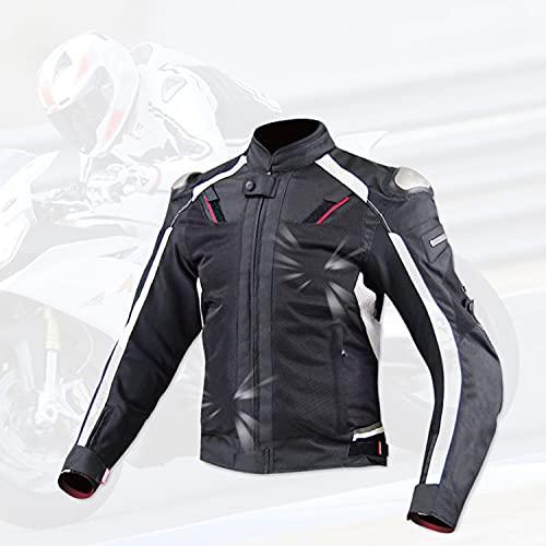 DOOK Chaqueta de Cuero para Mtociclista de Moto a Prueba de Viento Motocicleta Armadura de Equipo de Protección para Hombre de Toda Estaciòn Elementos Reflectantes