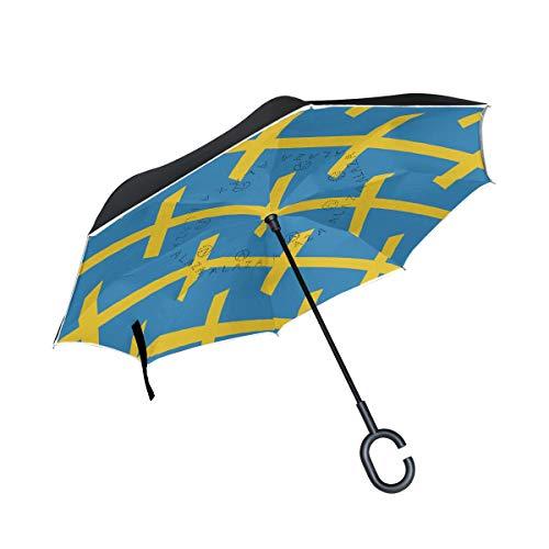 Umgekehrter Regenschirm mit Schweden-Flagge, doppellagig, winddicht, wasserdicht, automatisches Öffnen, umgekehrt, klappbar, Autoschirm mit C-förmigem Griff