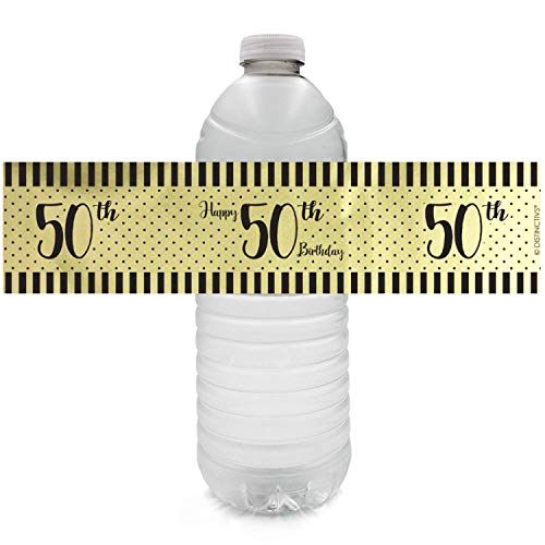Black and Gold 50th Birthday Water Bottle Labels - Shiny Foil - 24 Stickers