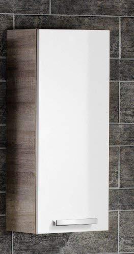 FACKELMANN Hängeschrank A-VERO / Badschrank mit gedämpften Scharnieren / Maße (B x H x T): ca. 35 x 79,5 x 21,5 cm / hochwertiger Schrank fürs Badezimmer / Korpus: Braun hell / Front: Weiß