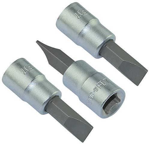 AERZETIX - Juego de 3 Vasos de destornillador 1/4'' para tornillos de ranura/plano - monobloque 6x37mm - punta para llave/trinquete manual - con ranura - acero CR-V - C46331