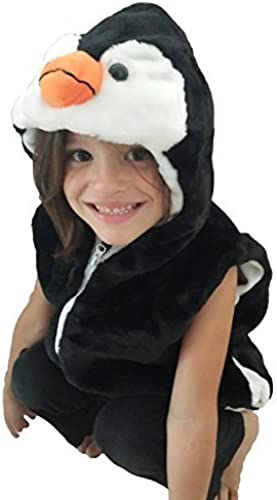 Fashion Vest with Animal Hoodie for Kids - Dress Up Costume - Pretend Play (Medium, Penguin) by MVF