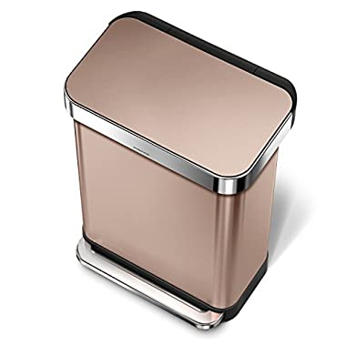 simplehuman 55 Liter/14.5 Gallon Stainless Steel Rectangular Kitchen Step Trash Can with Liner Pocket, Rose Gold Stainless Steel