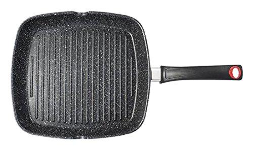 H&H Alessandro Bistecchiera Antiaderente Borghese Cm28X28 Induzione Pentole Cucina, Alluminio pressofuso, Nero, 28 cm