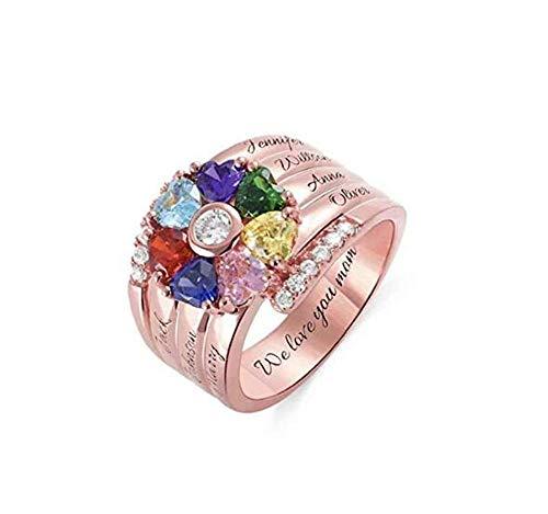 hjsadgasd Personalisierte Familie Engraved Name Ring 5 Birthstones und 5 Namen Sterling Silver Promise Ring