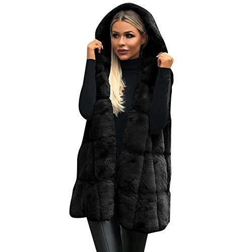 iHENGH Damen Herbst Winter Bequem Mantel Lässig Mode Jacke Frauen ärmellose Kapuzenmantel Volltonfarbe Plus Größe warme Lange Wollmantel(Schwarz, L)