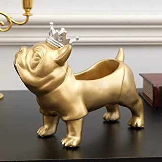 SJDWDX Panier de rangement pour entrée - En résine - Motif bouledogue - Avec plateau de rangement - Sculpture d'animal - D...