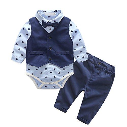 IWEMEK Baby Junge Gentleman Outfits Langarmshirt Hemd/Strampler + Hose + Weste Tuxedo Kleinkind 1. / 2. Geburtstag Smoking Hochzeit Formal Anzug Neugeborenes Taufanzug #E 6-12 Monate