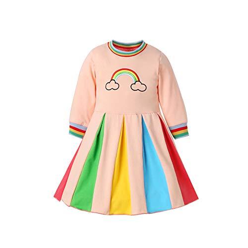 Decdeal Vestido para Niñas Falda Arcoiris para Niñas con Exquisito Bordado hasta la Rodilla Vestidos Coloridos de Princesa para Muchachas 2 a 8 Años