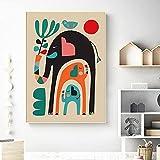 Póster moderno Elefantes carteles e impresiones de guardería de animales mediados de siglo imágenes artísticas de pared modernas habitación infantil abstracta decoración del hogar 40x60 cm sin marco