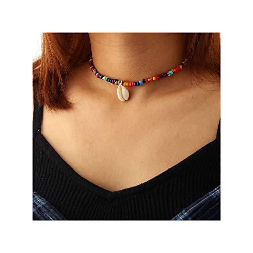 IYOU Boho-Muschel-Choker-Halsketten mit goldfarbenem Anhänger, bunte Perlen-Halskette, Schmuck für Frauen und Mädchen
