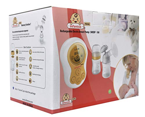 Infantso Suction Adjustable Electronic Feeding Breast Pump for Mom, Anti Back Flow, Soft & Gentle, BPA Free