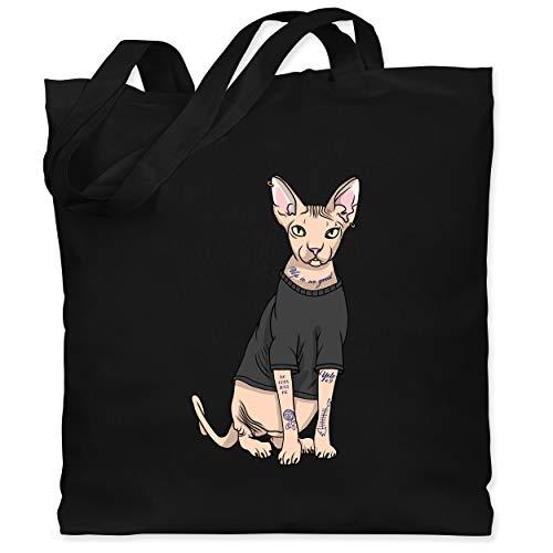 Shirtracer Katzen - Tattoo Sphynx-Katze - Unisize - Schwarz - sphynx-katze - WM101 - Stoffbeutel aus Baumwolle Jutebeutel lange Henkel
