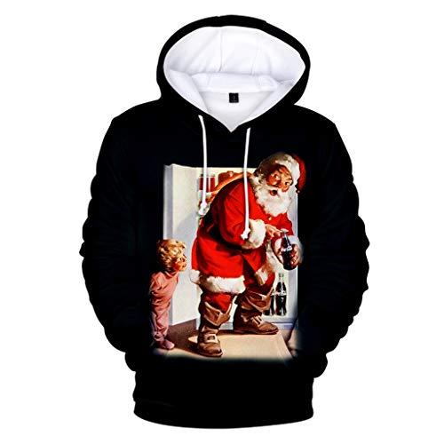 Strungten Herren Herbst Winter 3D Kapuzenpullover Rundhals Kapuzenpulli mit Weihnachtsmotiv Druck Ugly Sweater Weihnachtspulli Hoodie Jumper Oberteile Casual Christmas Sweatshirt Lässiger Pullover