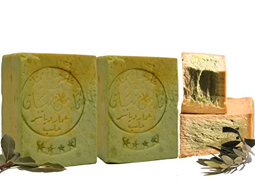 E4U Original Aleppo Seife 2x 190 g 80% Olivenöl 20% Lorbeeröl Original Olivenölseife PH Wert 8, Haasrseife, Duscheife, Detox Eigenschaften, Veganes, Handgeschnitten