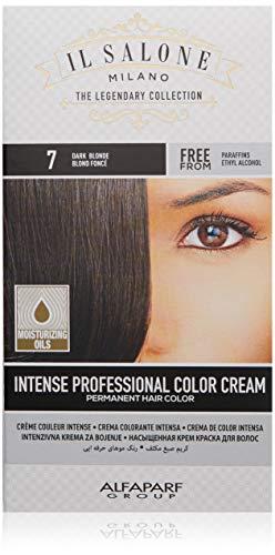 Il Salone Milano Permanent Hair Color Cream - 7 Dark Blonde Hair Dye - Professional Salon - Premium Quality - 100% Gray Coverage - Paraffin Free - Paraben Free - Ethyl Alcohol Free - Moisturizing Oils