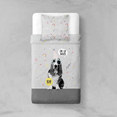 TODAY Parure de lit Smile 1 Personne 100% Polyester Microfibre 75g/m2 Dessin Dog Yay Housse de Couette 140x200 cm + 1 taie d'oreiller 63x63cm, Gris, 200x140 cm