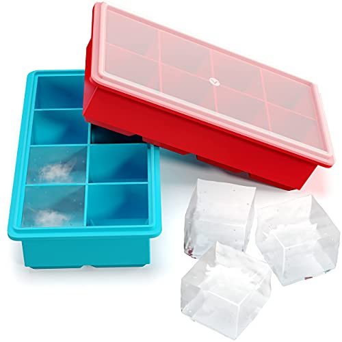 Large Silicone Ice Cube Trays with Lids